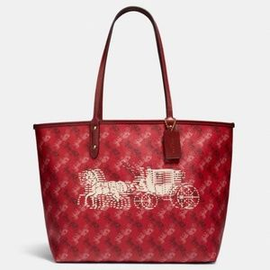 Coach Reversible Red Tote Horse Carriage Print
